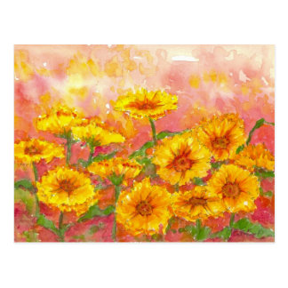 Marigold Autumn Flower Watercolor Garden Art Postcard