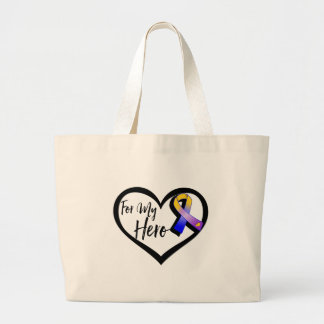 Marigold Blue and Purple Ribbon For My Hero Large Tote Bag
