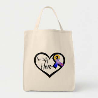 Marigold Blue and Purple Ribbon For My Hero Tote Bag