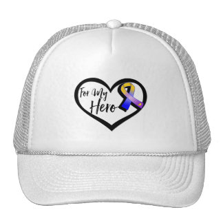 Marigold Blue and Purple Ribbon For My Hero Trucker Hat