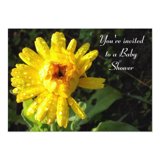 Marigold covered in dew Baby Shower Card