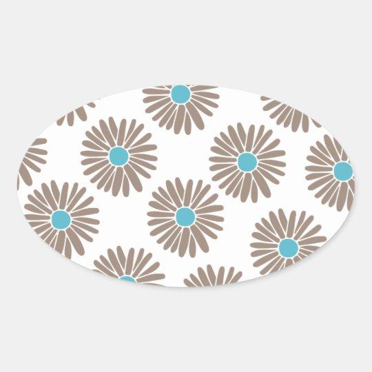 Marigold Floral Pattern Oval Sticker