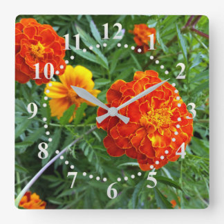 marigold in the sun square wall clock