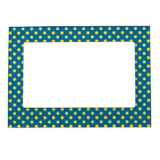 Marigold Medley Green, Orange Polkas Picture Frame Magnetic Picture Frames