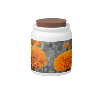 Marigold or Tagetes flowers Candy Jar
