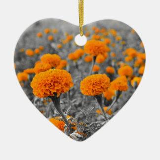 Marigold or Tagetes flowers Ceramic Ornament