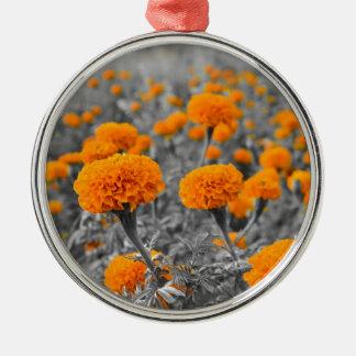 Marigold or Tagetes flowers Metal Ornament