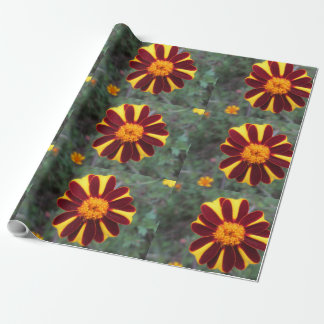 Marigold Velvet Rich Red Yellow Flower Wrapping Paper