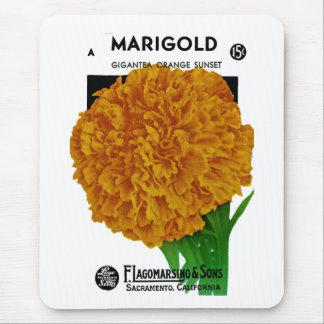 Marigold Vintage Seed Packet Mouse Pad
