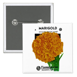 Marigold Vintage Seed Packet Pinback Button