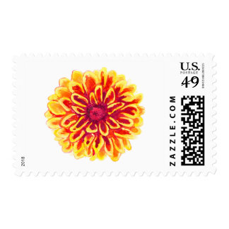 Marigold Watercolor Postage Stamp