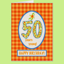 Marigolds and Check Gingham: 50th Birthday Card