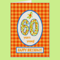 Marigolds and Check Gingham: 60th Birthday Card