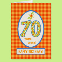 Marigolds and Check Gingham: 70th Birthday Card
