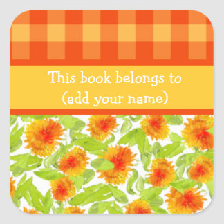 Marigolds and Check Gingham Sheet of 20 Bookplates
