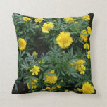 Marigolds and daisies throw pillow