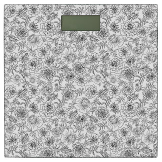 Marigolds Black On White Bathroom Scale