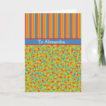 Marigolds, Stripes October Birthday to Personalize Card