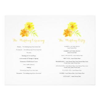 Marigolds watercolor yellow large Wedding Program