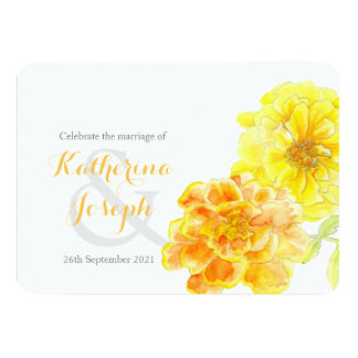 Marigolds watercolor yellow wedding invite