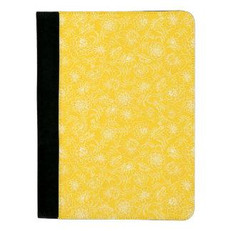 Marigolds white on yellow padfolio
