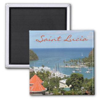 Marigot Bay Saint Lucia 2 Inch Square Magnet