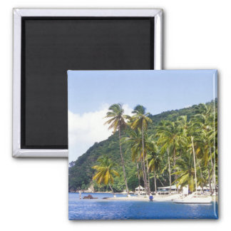 Marigot Bay, St. Lucia, Caribbean 2 Inch Square Magnet