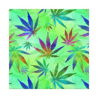 Marijuana Cannabis Leaves Pattern Canvas Print