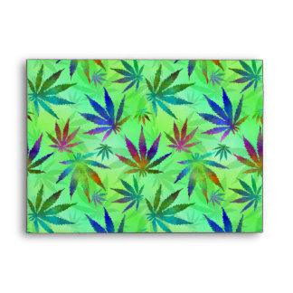 Marijuana Cannabis Leaves Pattern Envelope