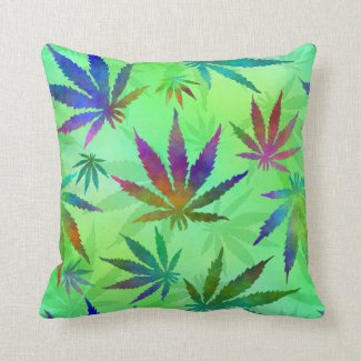 Marijuana Cannabis Leaves Pattern Throw Pillow