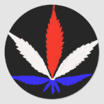 Marijuana flag leaf ronde stickers