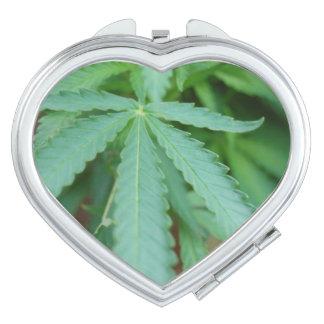 Marijuana leaf compact mirror