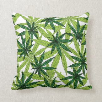 Marijuana Leaf Covered Throw Pillow