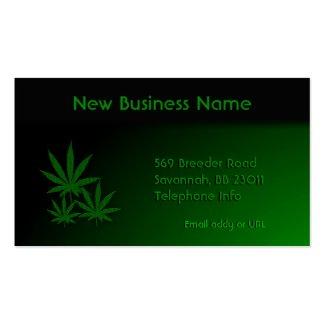 Marijuana Leaf Emerald Green Business Card Templates