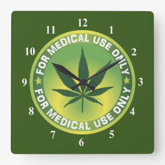 Marijuana Leaf For Medical Use Only Logo Square Wall Clock