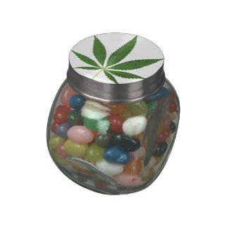 Marijuana Leaf Glass Jar Container CUSTOMIZABLE