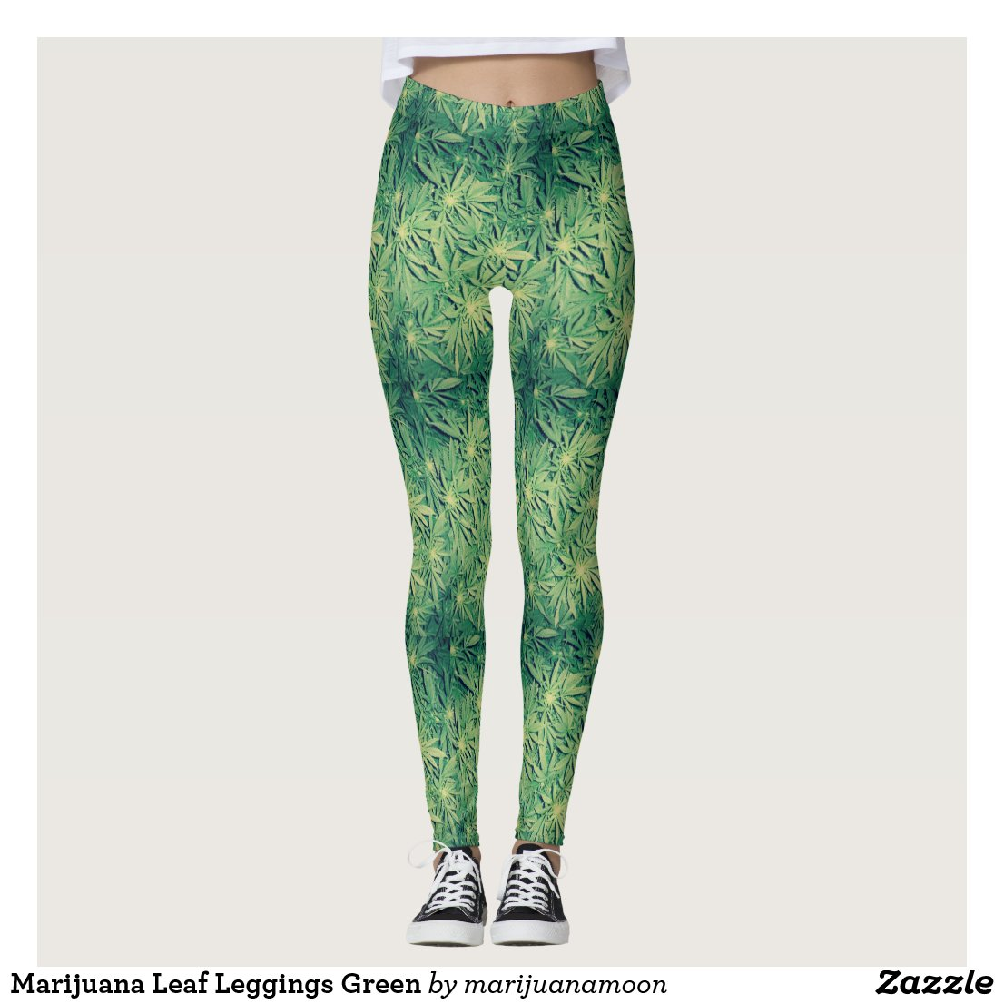 Marijuana Leaf Leggings Green
