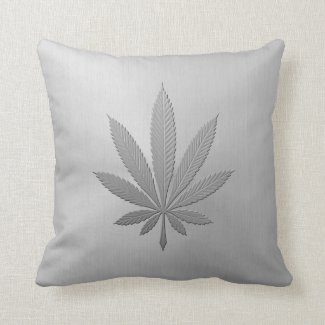 Marijuana Leaf with Stainless Steel Effect Throw Pillows