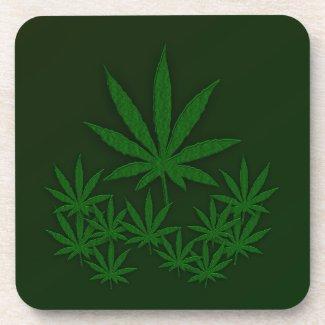 Marijuana Leaves Beverage Coaster