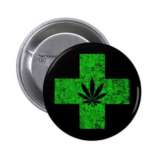 marijuana médica pin redondo 5 cm