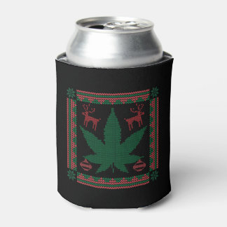 Marijuana Pot Leaf Ugly Christmas Sweater Can Cooler