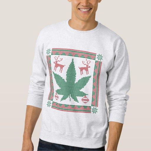marijuana pot leaf ugly christmas sweater
