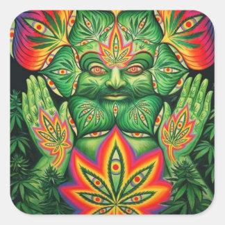 Marijuana, Trippy Psychedelic Art Weed Pot Leaf Square Sticker