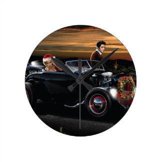 Marilyn and Elvis Christmas Joy Ride Round Clock