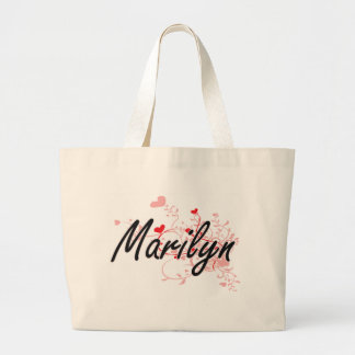 Marilyn Artistic Name Design with Hearts Jumbo Tote Bag