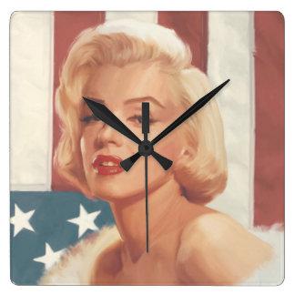 Marilyn Flag Square Wall Clock