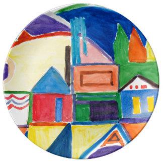 """Marilyn Holmes Fine Art """"Main Street"""" Plate"""