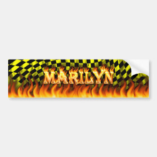 Marilyn real fire and flames bumper sticker design