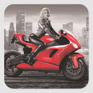 Marilyn's Motorcycle Square Sticker