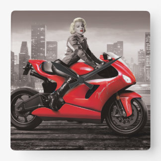 Marilyn's Motorcycle Square Wall Clock